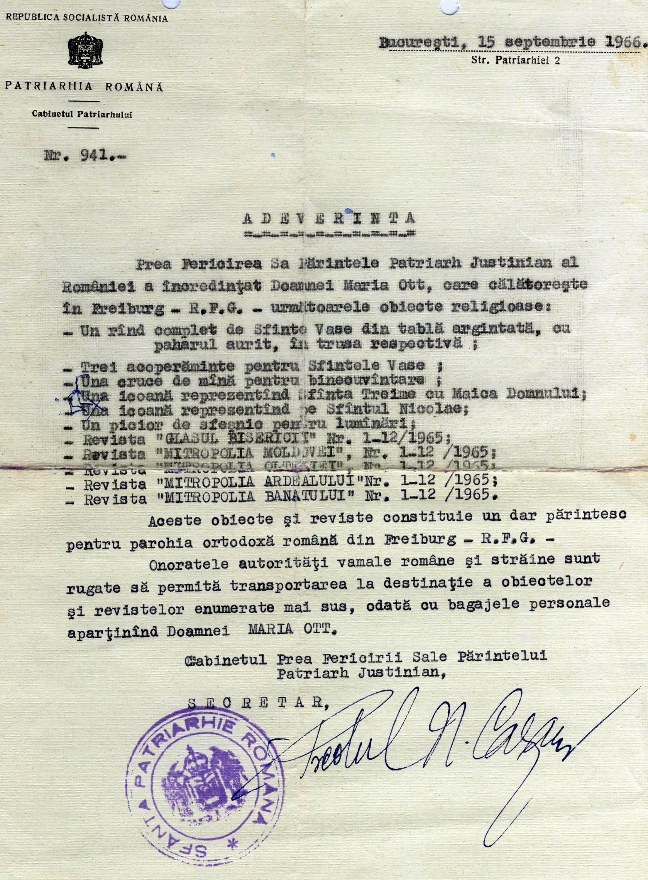 Adresa de la Cabinetul Patriarhului Justinian hp 1