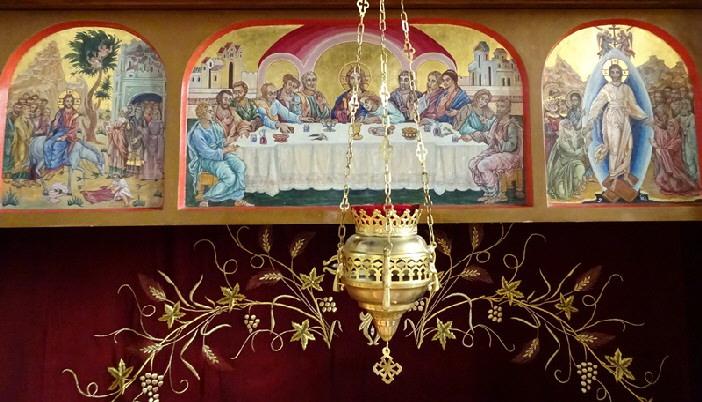 Iconostasul. Fragment. Floriile, Cina cea de Taina, Invierea Domnului