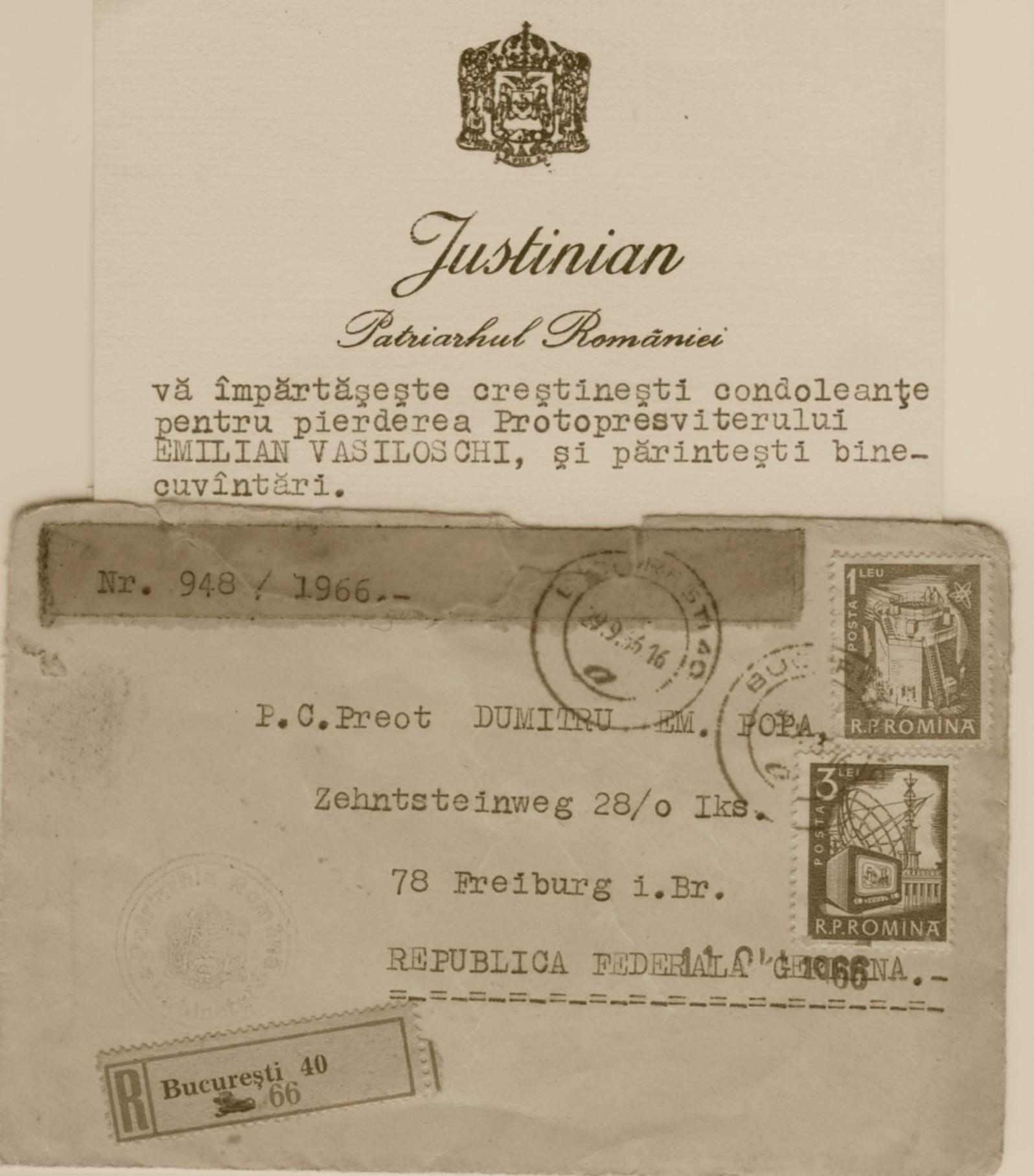 Patriarhul Justinian, Cartea de vizita cu condleante hp