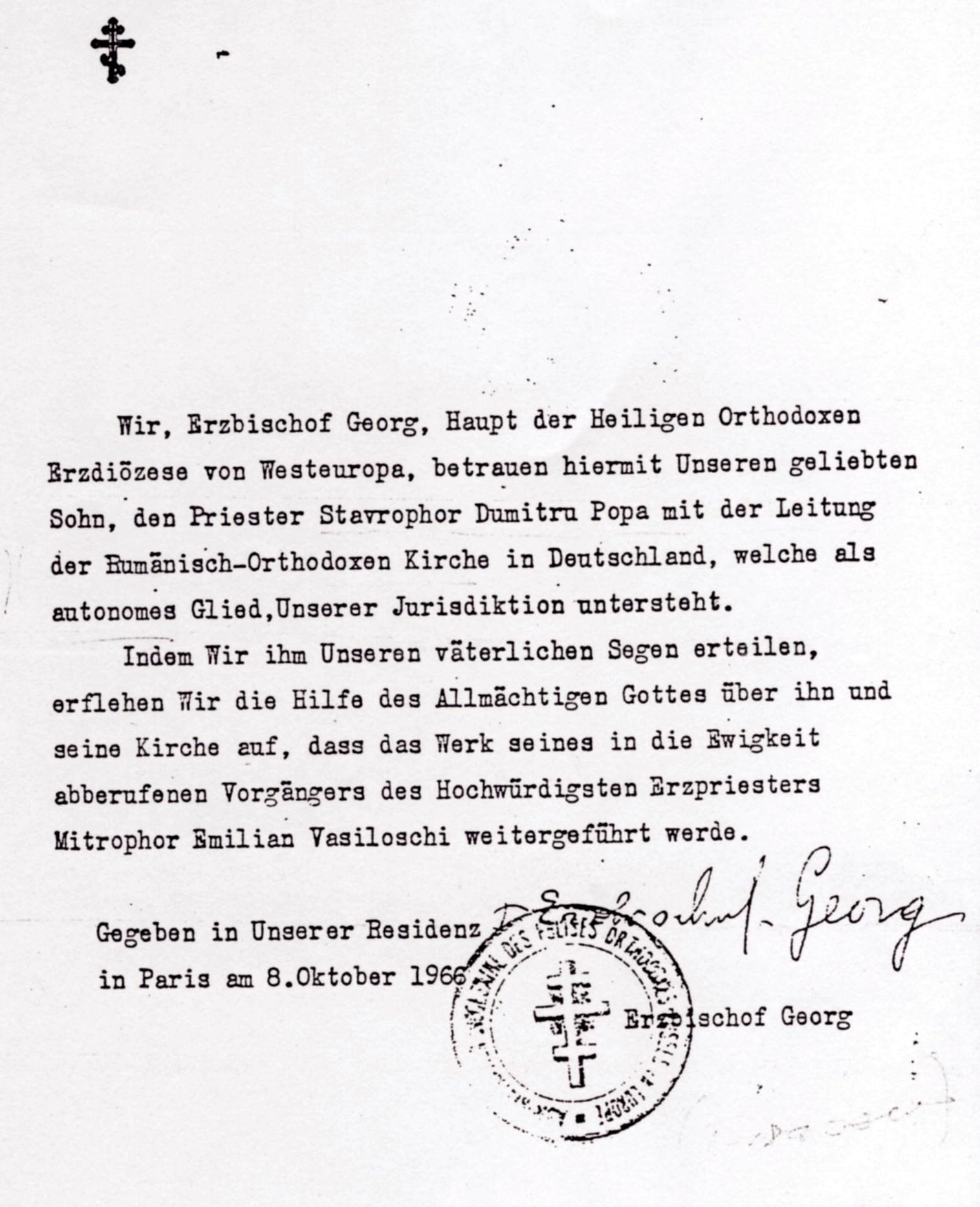Pr. D. Popa Numirea din 1966 hp